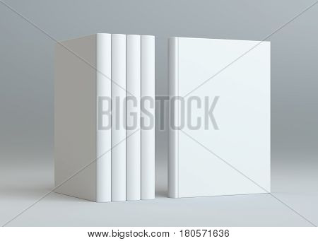Hardcover Books Mock-Up. Gray Background. 3D rendering