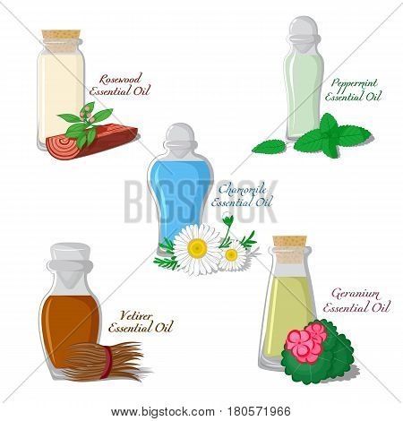 A set of essential oils: Chamomile, Mint, Vetiver, Rosewood, Geranium