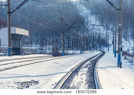 Winter view of Trans Siberian railway. Russia.