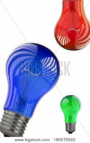 Bulb red, green, blue isolated on a write background