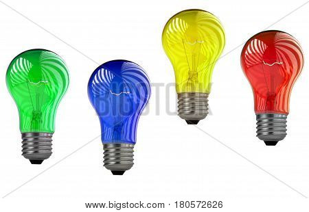 Bulb yellow, green, blue, red on a write background