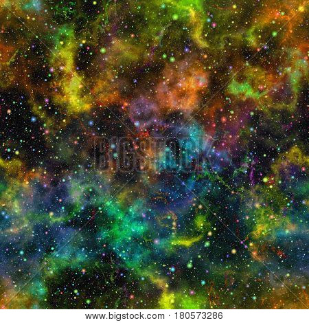 Abstract bright colorful universe, Multicolor nebula night starry sky, Shiny outer space, Glittering galactic texture background, Seamless illustration