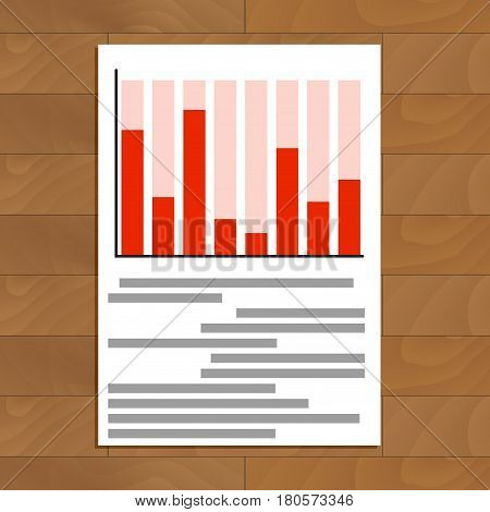 Annual report vector. Red graph and diagram infomation illustration