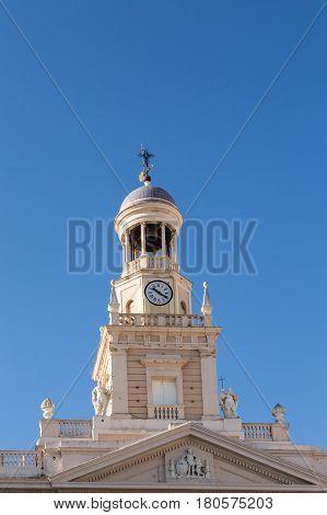 Clock and Bell Tower on Cadiz Church under Blue Sky