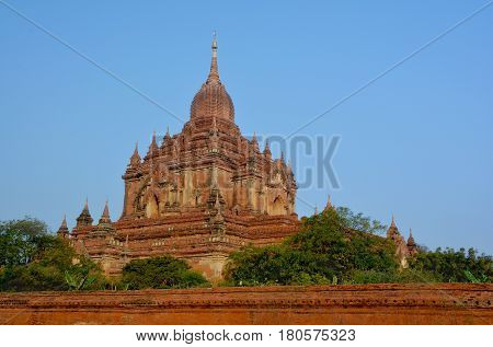 Beautiful View Of The Htilominlo Temple At Sunrise In Bagan Archeological Zone, Myanmar