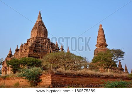 Beautiful Old Pagodas At The Sunset In Bagan Archeological Zone, Myanmar.