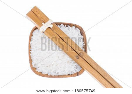 Natural Wooden Fork And Chopsticks With Rice In Small Wooden Bowl On White Background, Kitchenware C