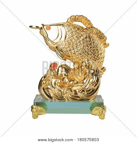 Golden fish sculpture isolated on the white background. Chinese decoration object for good luck meaning