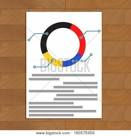 Pie chart document. Development trend economic infomation vector illustration