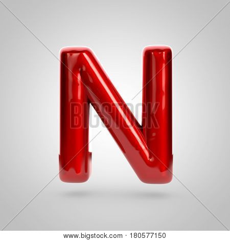 Metallic Paint Red Letter N Uppercase