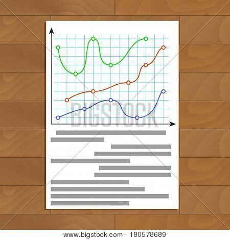 Document with color curve line graphic. Finance economy growth profit chart vector illustration