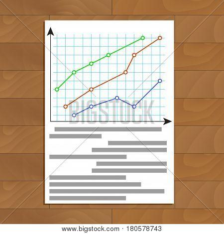 Economic infochart diagram. Statistic plan document vector illustration