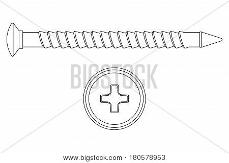Screw. Outline icon. Phillips flat head. Vector illustration isolated on white background