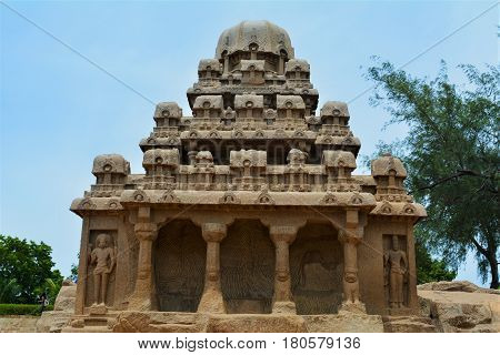 Monolithic ancient Hindu temple in Mahabalipuram in the Tamil Nadu region of southern India.