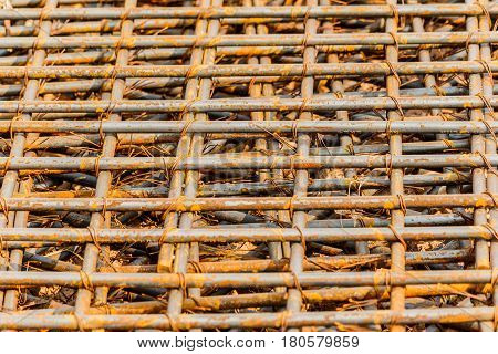 closeup of steel mattress used for concrete rebar in the construction industry