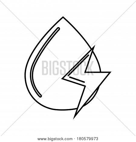 figure water drop with energy sign, vector illustration