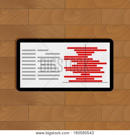 Tablet with red chart info. Annual info progress on display vector illustration
