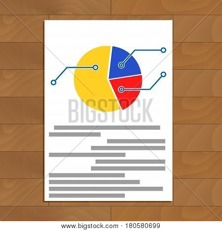 Pie chart document. Infographic and infochart plan on paper sheet vector illustration