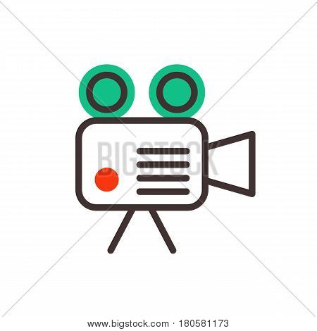 Camera video optic on white background objective retro equipment professional look and digital vintage technology electronic aperture device vector illustration.