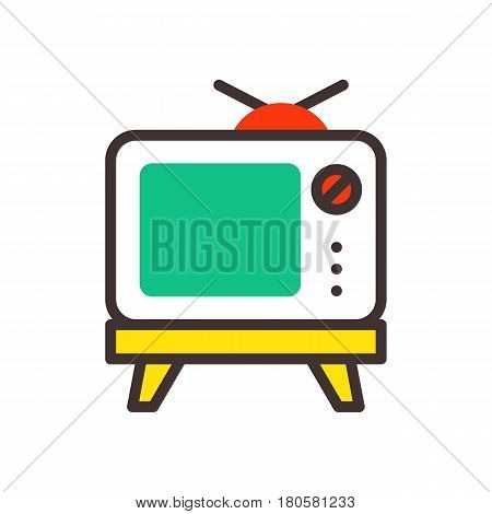 TV screen vintage monitor template electronic device technology digital line art display and video retro outline home tool vector illustration. Entertainment old liquid movie equipment.