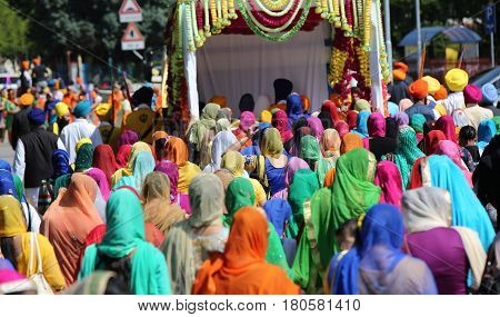 Vicenza, Vi, Italy - April 8, 2017: Many People Sikh Procession Pray During A Religious Ceremony For