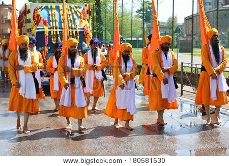Vicenza, Vi, Italy - April 8, 2017: Procession Of Sikh People During The Nagar Kirtan Festival