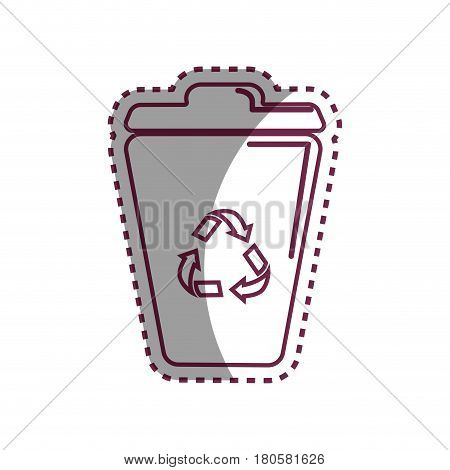 sticker can trash with reuse, reduce and recycle symbol, vector illustration design