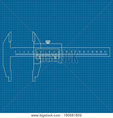 Caliper. Blue outline drawing. Vector illustration on blueprint background