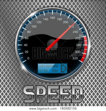Speedometer on metal perforated background. Vector 3d illustration