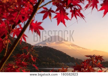 Beautiful natural landscape view of Mount Fuji at Kawaguchiko during sunset in autumn season at Japan. Mount Fuji is a Special Place of Scenic Beauty and one of Japan's Historic Sites.
