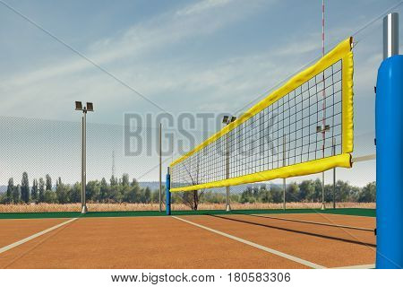 Empty volleyball court view in sunny day view, 3d rendering
