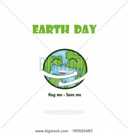 Earth Day April 22 with globe cute character.Earth Day campaign idea concept.Earth Day idea campaign for greeting CardPosterFlyerCoverBrochureAbstract background.Vector illustration