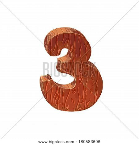 Wooden textured cartoon bold font number 3. Number on white background.