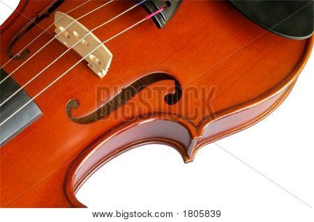 Musical Instruments: Violin Closeup Showing The Bridge (11) With Clipping Path