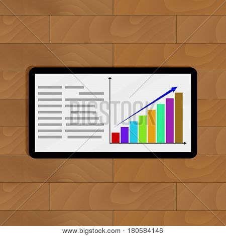 Positive statistics on tablet. Info annual report statistic graphic vector illustration