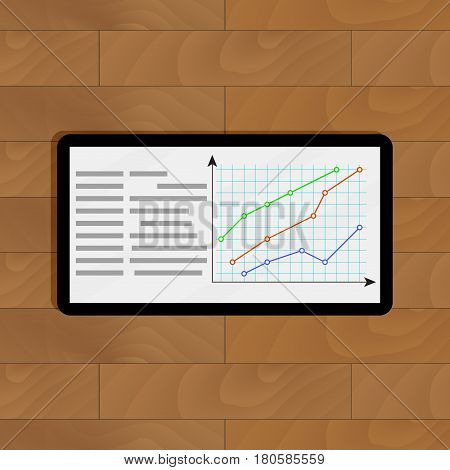 Tablet with curve graphic. Chart and infochart report and graph vector illustration