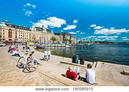 Stockholm Sweden - July 22 2013: people walking in old town of Stockholm called Gamla Stan. Sweden Scandinavia Europe.
