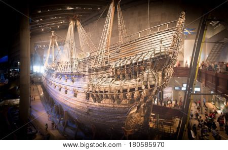 Vasa old ship in museum. Stockholm Sweden Scandinavia Europe.