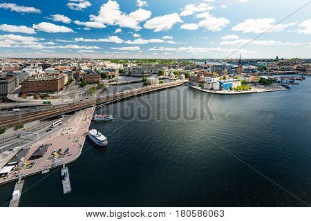 Panoramic view of Stockholm city. Port in foreground and old town in background. Sweden Scandinavia Europe