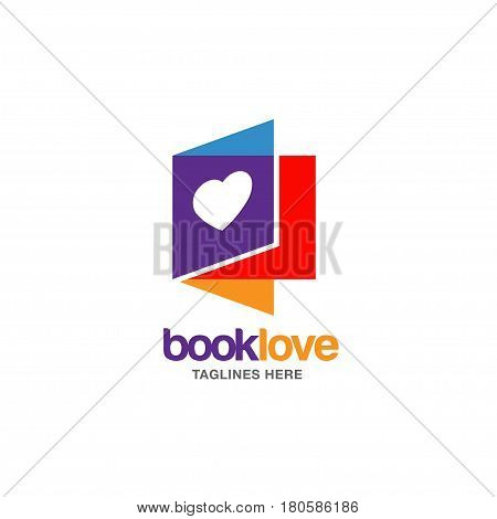 Creative book lover vector logo. book and heart logo, Book Store and library vector logo design. Learning study idea icon. education Vector illustration