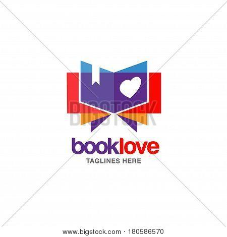 Creative book lover vector logo. book and heart logo, Book Store and library vector logo design. Learning study idea icon. education Vector illustration