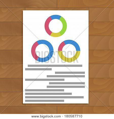 Document with round charts. Infochart graph analytics financial vector illustration
