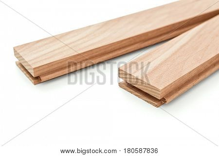 Planks of parquet on white background -Clipping Path