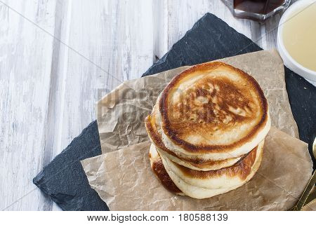 Stack Of  Pancakes  On Wooden White  Background