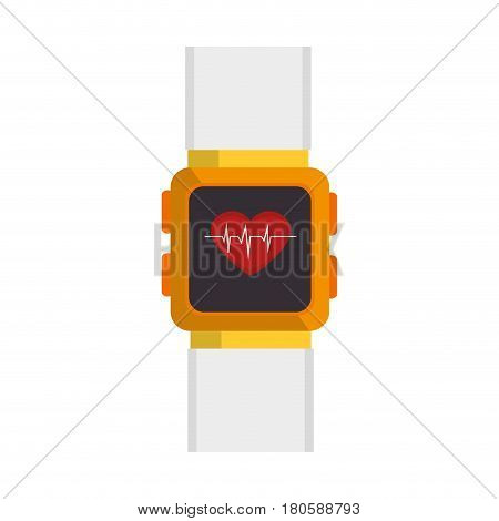 smartwatch with cardiology app vector illustration design