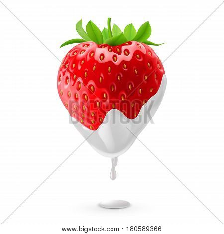 Ripe Strawberry Dipped in Sour Cream. Illustration on White Background