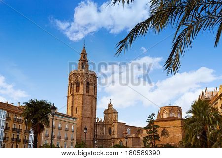 Valencia Miguelete Micalet Cathedral tower in Reina square at Spain