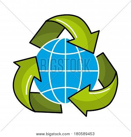 gobal planet inside of recycling symbol, vector illustration