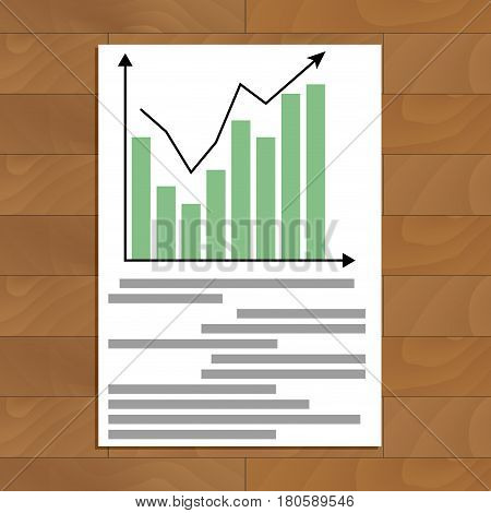 Ducument with chart up. Economic rate profit infomation infochart and color diagram vector illustration