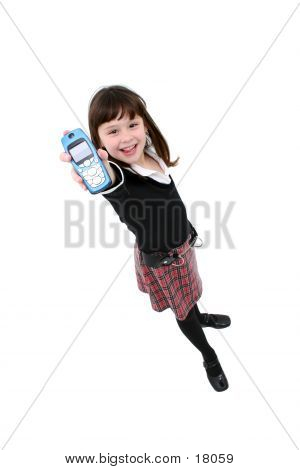 Child Standing With Cellphone Held Out